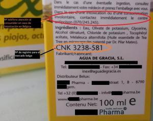 Para la distribución de nuestro producto en Bélgica fue obligatorio añadir en el envase el nº de registro farmaceútico belga y el teléfono local de atención al consumidor.